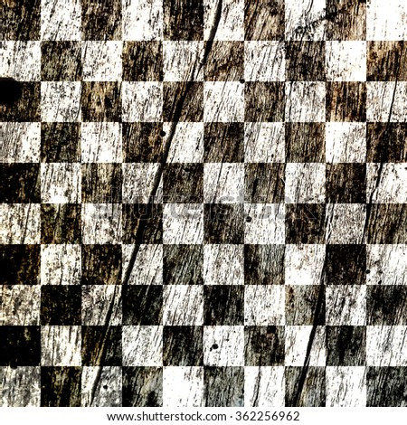 Checkered Black and white on wood , background - stock photo