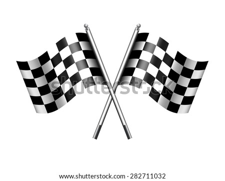 Checkered, Chequered Flags Finish Flag - Raster Version - stock photo