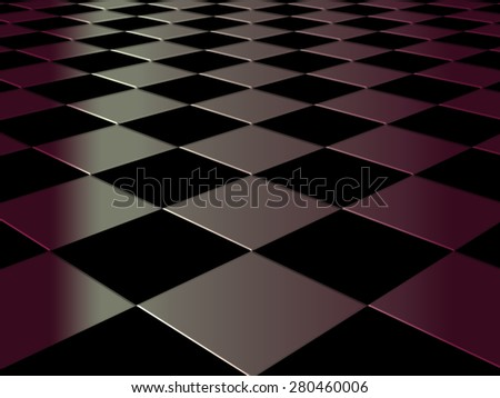 Checkered elevated 3D background floor pattern in perspective with elevated black and coloured geometric design - stock photo