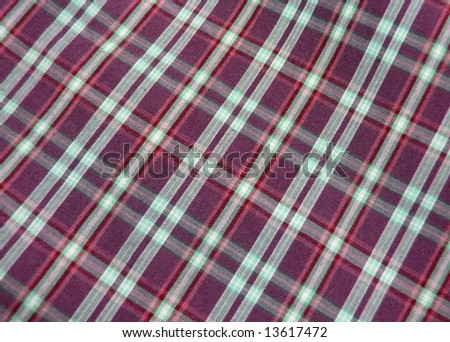 Checkered fabric closeup. Series - blue. Good for background. - stock photo