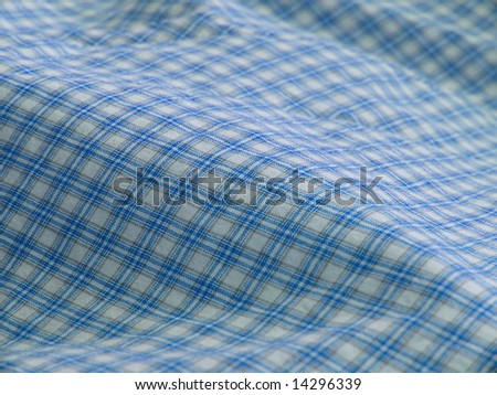 Checkered fabric closeup - series - blue. Good for background. More fabrics in my port. - stock photo