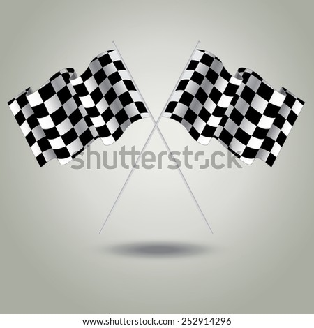 Checkered flag for racing. Two Finish flag with shadow. Race flag. finish illustration. Waving Checkered flag