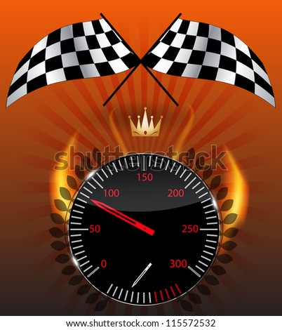 Checkered flag, speedometer.  Raster version - stock photo