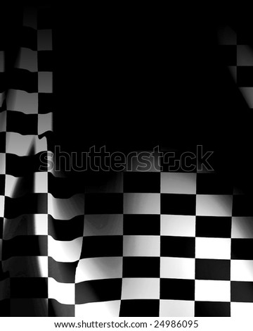 Checkered flag waving in the wind with some folds in it