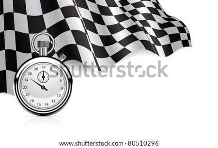 Checkered flag with a stopwatch background