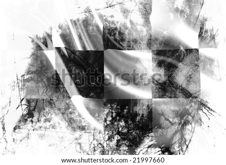 Checkered flag with some damage in it - stock photo