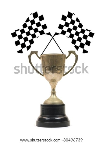 Checkered flags and a trophy isolated against a white background
