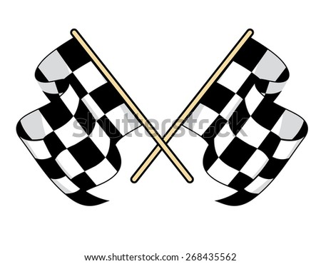 Checkered flags icon for motorsports design with crossed black and white flags waving in the breeze - stock photo