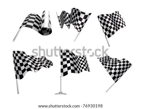 Checkered Flags set illustration on white background. - stock photo