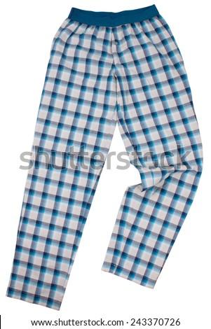 Checkered pijama sweatpants isolated on white background - stock photo