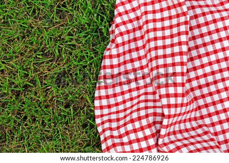 checkered plaid for picnic on green grass - stock photo