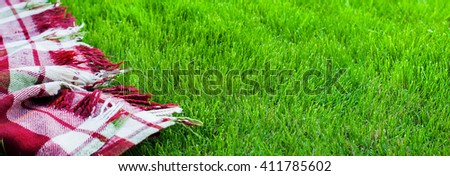 Checkered Plaid Picnic Green Grass Summer Time Background Freedom Concept Long Format - stock photo