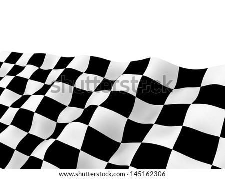 Checkered racing flag on winding flow