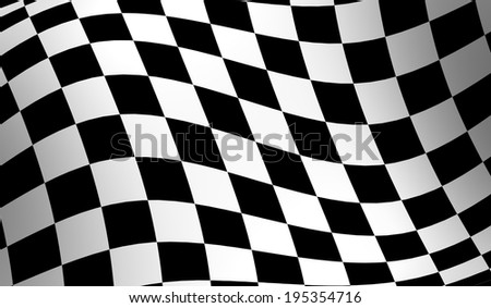 Checkered racing flag, wavy checker flag pattern - stock photo