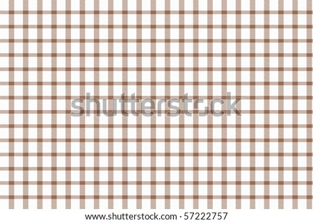 Checkered tablecloth - brown and white squared pattern background - stock photo