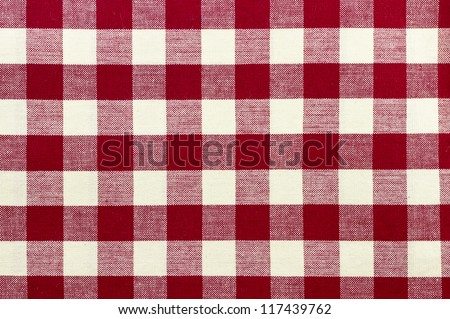 checkered tablecloth res color red and white background texture - stock photo