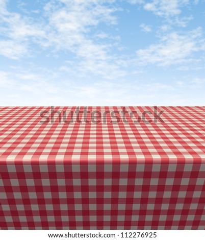 Checkered Tablecloth Table With A Blank Empty Picnic Cloth In Perspective  On A Blue Sunny Summer