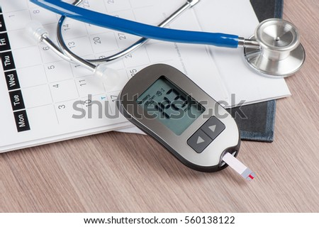 Checking blood sugar level with blood glucose meter.