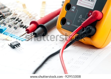 Checking Circuit by Multi-Meter. Electrical engineer on during checking circuit board unit  - stock photo