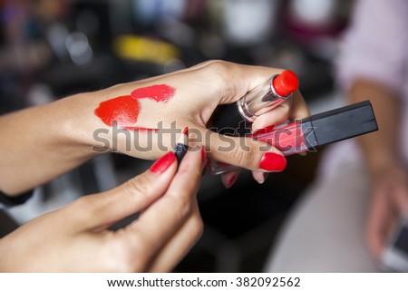checking make-up colors before appliance  - stock photo