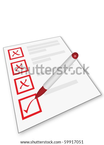 Checklist and pen isolated on white background - stock photo