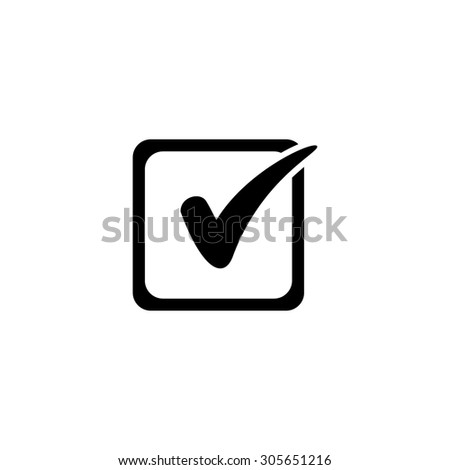 Checklist button - check mark in box sign. Simple black flat pictogram on white background - stock photo