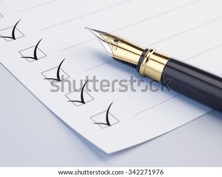 Checklist concept - checklist, paper and fountain pen - stock photo