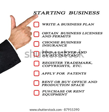 Checklist for starting business