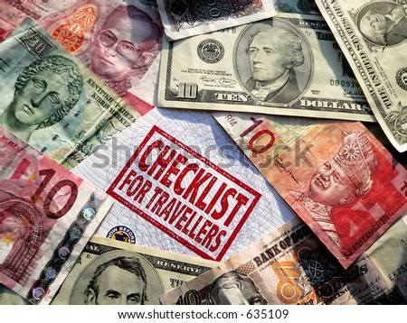 checklist & foreign currency - stock photo