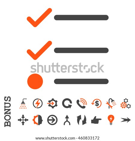 Checklist glyph bicolor icon. Image style is a flat iconic symbol, orange and gray colors, white background.