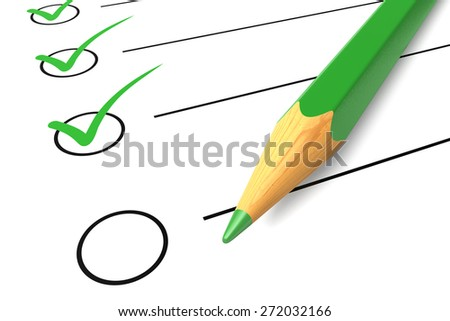 Checklist list check white mark questionnaire isolated green pencil ok yes elections diagnostics - stock photo