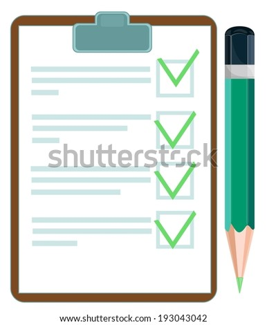 checklist with pencil, illustration - stock photo