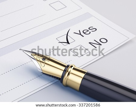 Checklist with the options: Yes or No  - stock photo