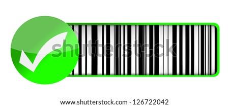 checkmark barcode UPC illustration design over a white background - stock photo