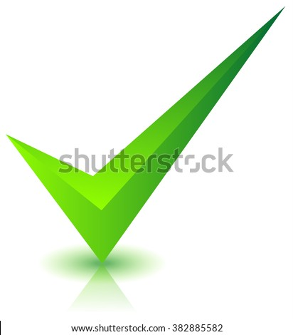 Checkmark icon with shadow and reflection on white - stock photo