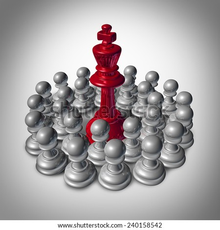 Checkmate business concept and team strategy symbol as an organized group of small chess pawns coming together to overpower and dominate the big leader king. - stock photo