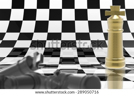 checkmate concept with golden chess king stand on chessboard background - stock photo