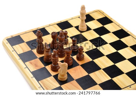 checkmate made by one chess horse with total advantage of opponent - stock photo