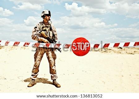 checkpoint - stock photo