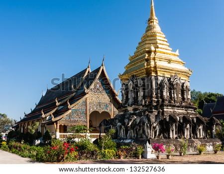 Chedi Chang Lom and Viharn, Wat Chiang Man, Chiang Mai, Thailand - stock photo