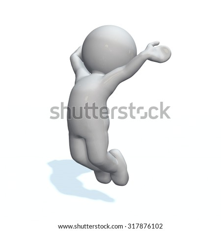 cheer - 3D People isolated - stock photo
