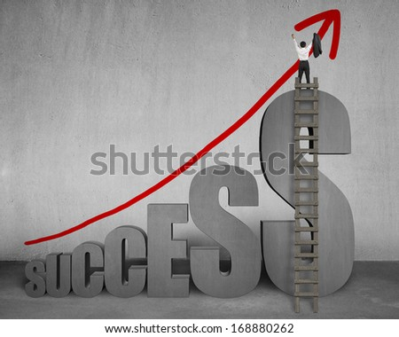 Cheered businessman standing on top of 3D success word with wooden ladder and growing red arrow on concrete wall - stock photo