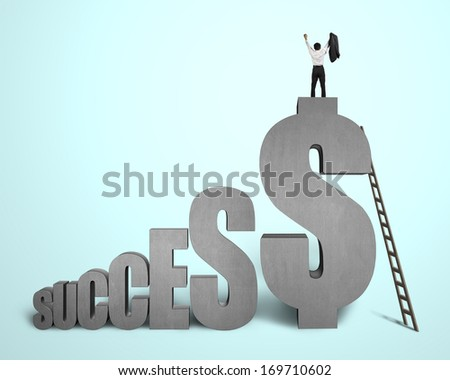 "Cheered businessman standing on top of ""SUCCESS"" concrete 3D word in green background"