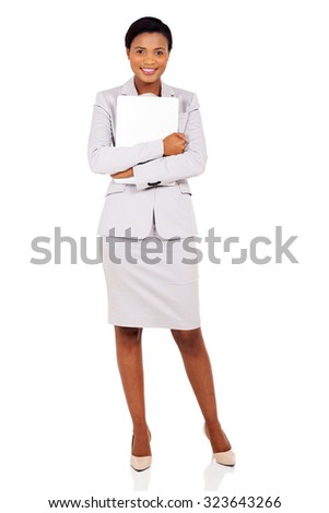 cheerful african business woman with laptop computer on white background - stock photo