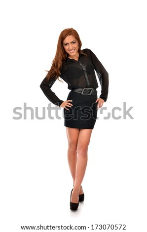 Cheerful arab business woman posing with hands on hips, full length studio portrait over white background