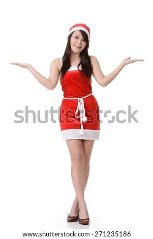 Cheerful Asian Christmas girl, full length portrait on white background. - stock photo