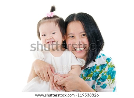 cheerful asian mother and baby girl - stock photo