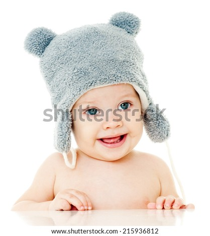 cheerful baby in the hat. - stock photo