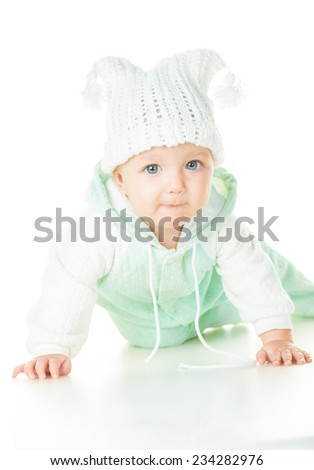cheerful baby six months old, white background