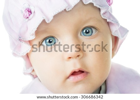 cheerful baby six months old, white background - stock photo